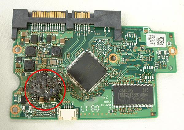 carte controleur disque dur seagate endommagé